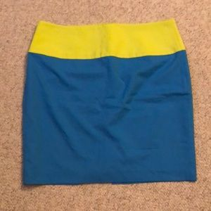 Blue and lime green color block skirt
